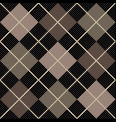 black and beige argyle seamless pattern vector image