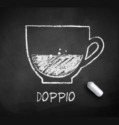 Black and white sketch of doppio coffee vector