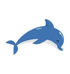 Blue dolphin as underwater sea animal vector