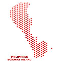 boracay island map - mosaic of heart hearts vector image