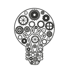 bulb with gears isolated icon design vector image