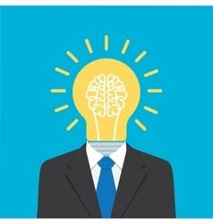businessman with light bulb head vector image