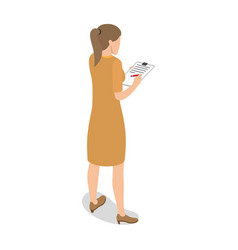 Businesswoman standing back and writing on tablet vector