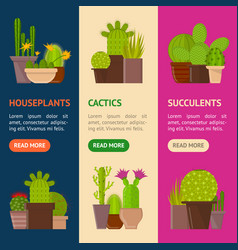 cartoon cactus plant in pots banner vecrtical set vector image
