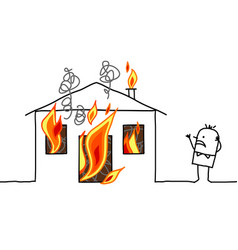 Cartoon character - man with house fire vector