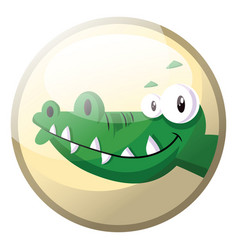 cartoon character of a green crocodile smiling in vector image