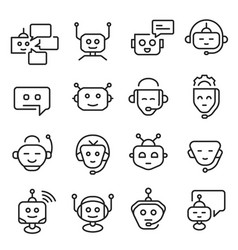 Chat bot face icon line art set vector
