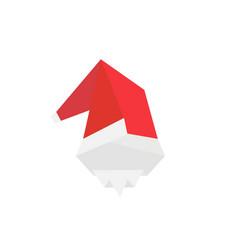 christmas card with origami santa vector image