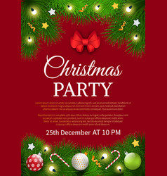 christmas party invitation poster sample card vector image