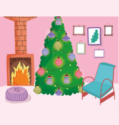 christmas tree with balls and lights chimney chair vector image