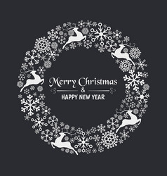 Christmas wreath with snowflakes christmas wreath vector