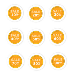 circular paper labels orange discount vector image