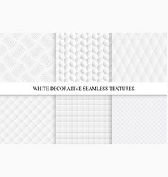 Collection of seamless white decorative textures vector