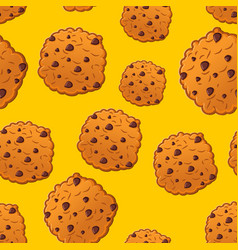 Cookies pattern biscuit with chocolatet drops vector