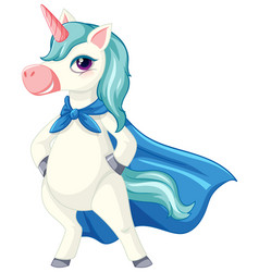 cute blue unicorn in sitting on cloud position on vector image
