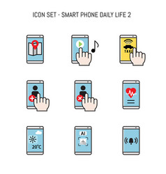 Daily life icon collection with smartphone mobile vector