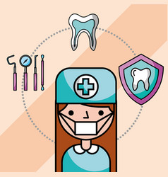 dentist girl in uniform mask tools tooth vector image