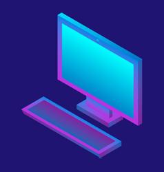 desktop computer icon isometric style vector image