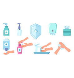 disinfection and cleaning antiseptic spray soap vector image