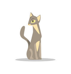 Elegant short-haired cat with gray-beige color and vector