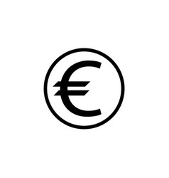 Euro coin solid icon finance and business vector