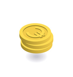 euro icon pile of gold coins with euro sign vector image