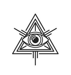 Eye providence masonic sign on white background vector