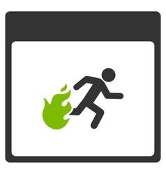 Fire Evacuation Man Calendar Page Flat Icon vector