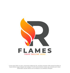 Flame with letter r logo design fire logo template vector