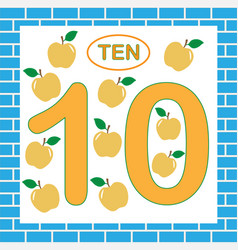 Flashcard with number 10 ten education vector
