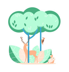 forest with wild animals in flat design vector image
