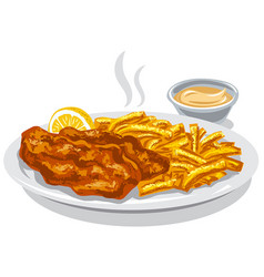 Fried fish and chips vector