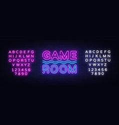 game room neon text gaming neon sign vector image