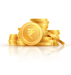 Gold rupee coins indian money stacked golden vector