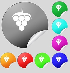 Grapes icon sign Set of eight multi colored round vector image
