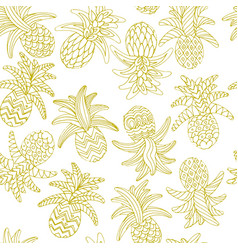 hand drawn sketch of pineapple seamless vector image