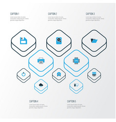 Hardware colorful icons set collection of floppy vector