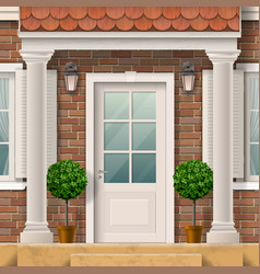 House entrance with columns vector