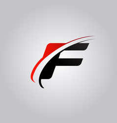 Initial f letter logo with swoosh colored red and vector