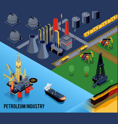 Isometric oil industry composition vector