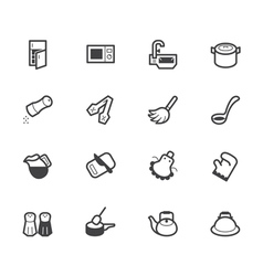 Kitchen element black icon set on white background vector