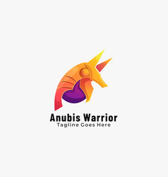 Logo anubis warrior gradient colorful style vector