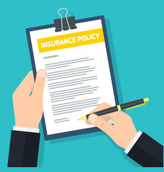 Man signs insurance policy vector