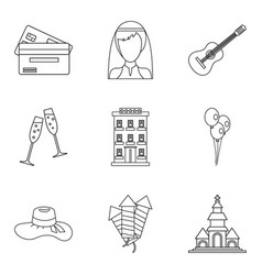 Marriage supper icons set outline style vector