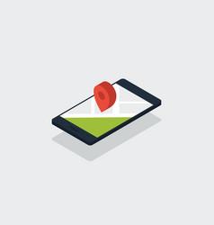 mobile smartphone navigation map isometric flat vector image