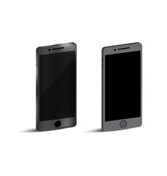mock up realistic black mobile and flat design vector image
