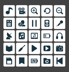Multimedia icons set collection of satellite vector