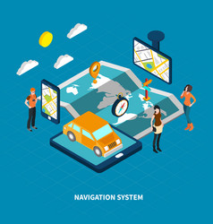 navigation system isometric vector image