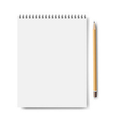 notebook mockup isolated with pencil vector image