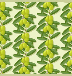 olive branches green seamless pattern vector image